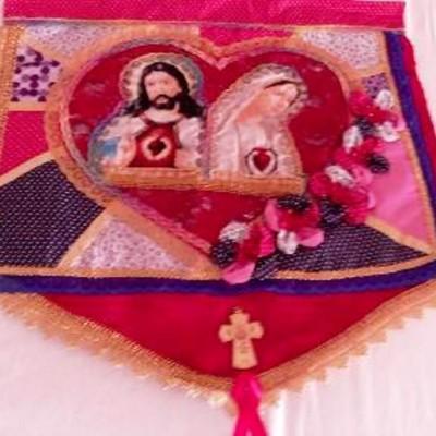 Estandarte Sagrado Coração De Jesus E Imac. Coração De Maria